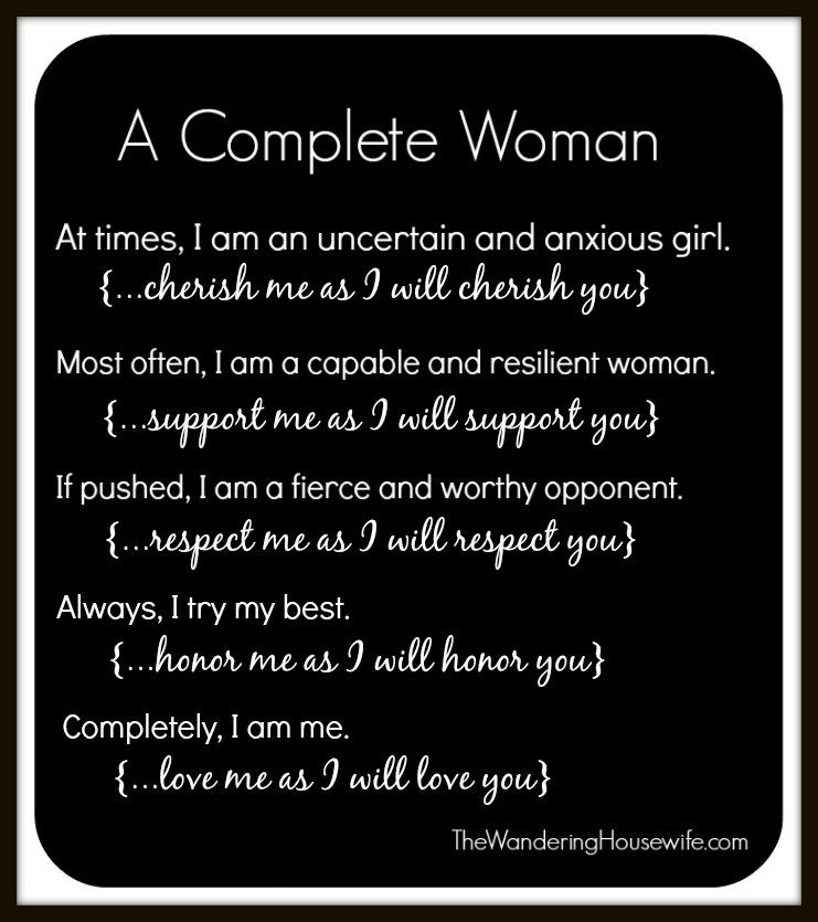 A complete woman. | TheWanderingHousewife.com